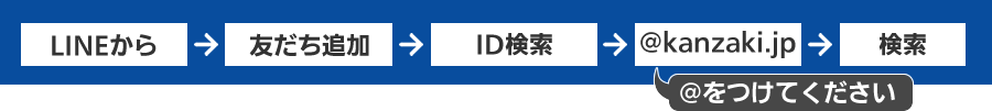 LINEから→友達追加→ID検索→@kanzaki.jp→検索